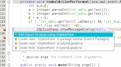 Cara Menangani Pesan Error Pada Pemrograman Java Netbeans