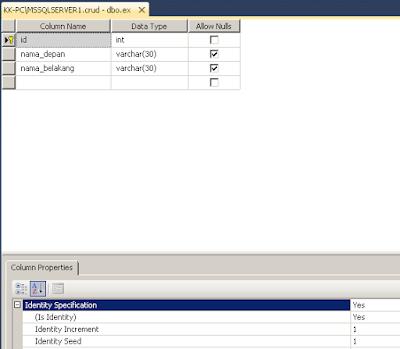 Table database dan kamus data untuk auto increment