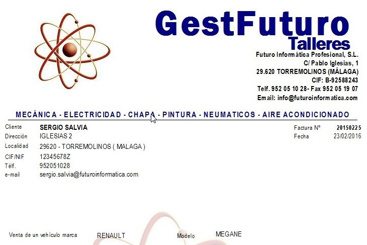 Imagen de una factura de GestFuturo software de gestión, hablando de los programas de facturacion