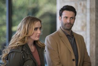 "Kathryn Love Newton as Claire Novak and Adam Fergus as Mick Davies in Supernatural 12x16 ""Ladies Drink Free"""