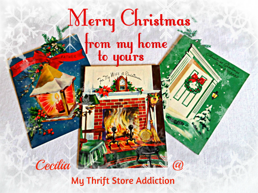 Merry Christmas  mythriftstoreaddiction.blogspot.com Vintage card Christmas greetings from my home to yours!