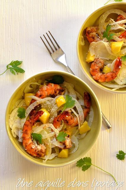 Salade de fenouil, mangue et crevettes au garam masala