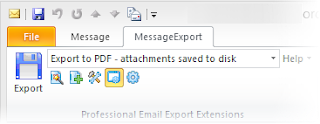 Screen shot of MessageExport toolbar integrated with Microsoft Outlook.