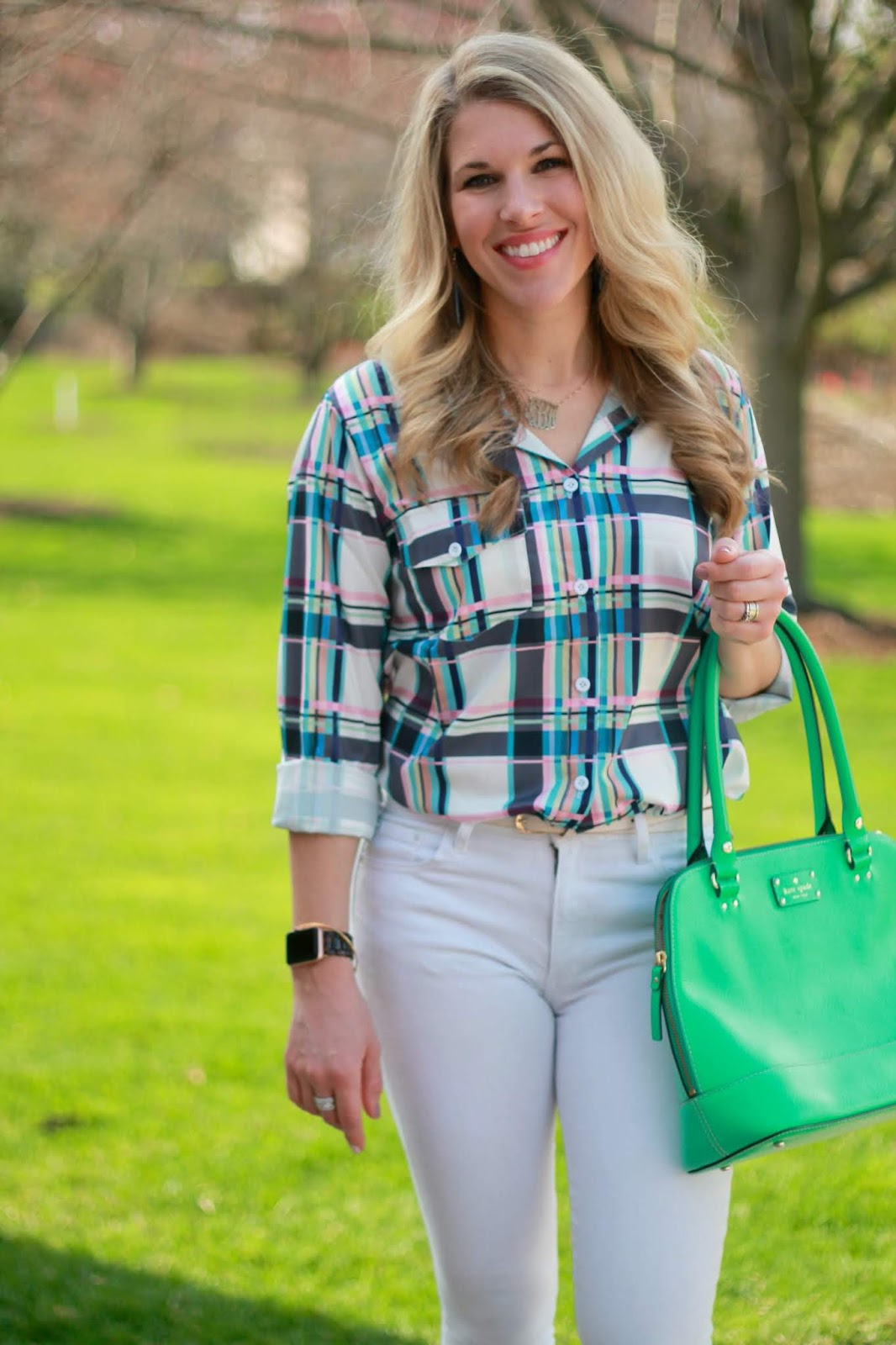 lightweight blue pink plaid button up, white jeans, white bow loafers, green kate spade bag,