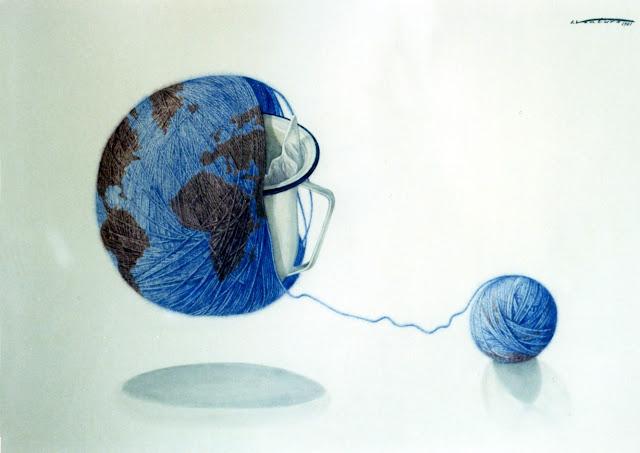Acuarela surrealista mundo pintor catalán Isidro Ventura