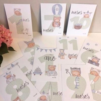 milestone baby cards , tarjetas para bebés