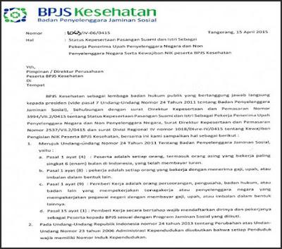 surat edararan peserta bpjs untuk pasangan suami istri pekerja