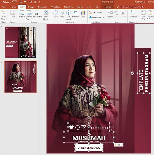 Download Template Feed Intsgram Merah Marron Powerpoint
