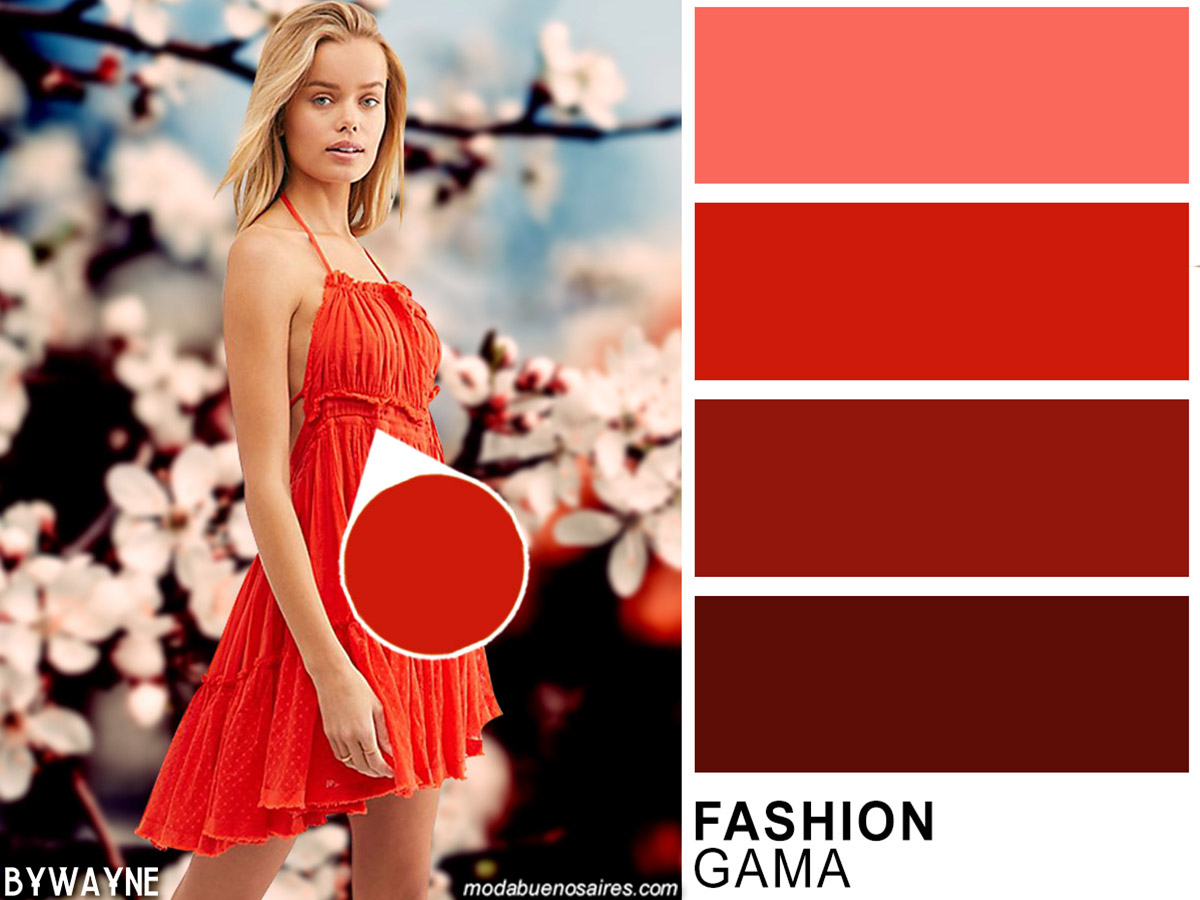 Colores primavera verano 2020. Gama de rojos, moda primavera verano 2020.
