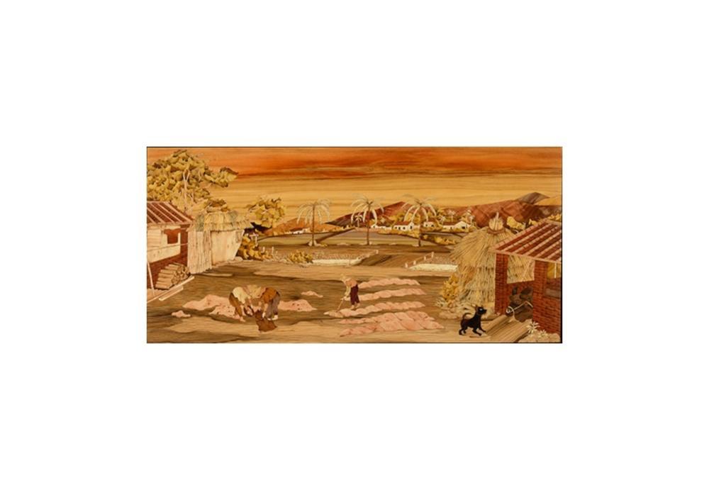Sandy老師創作理念:「辛勤農家負荷懸,日曬穀粒歡喜臉。」