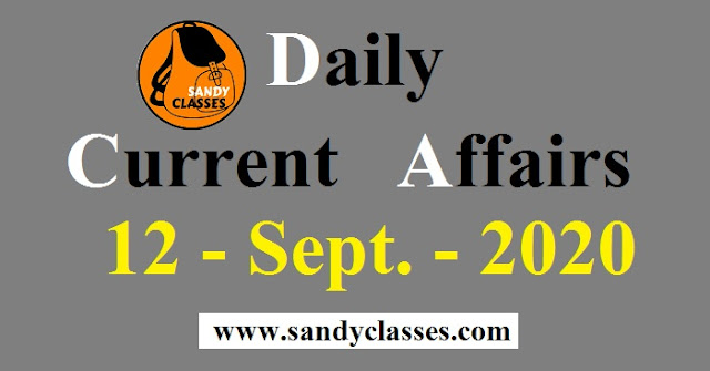 Daily Current Affairs in Hindi / English - 12 September 2020