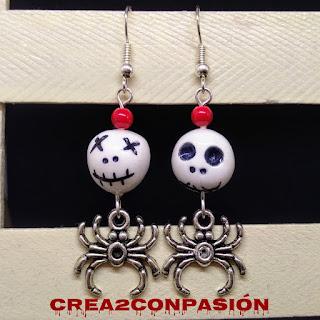 Aretes-pendientes-halloween-de-arañas-y-calaveras-crea2conpasion