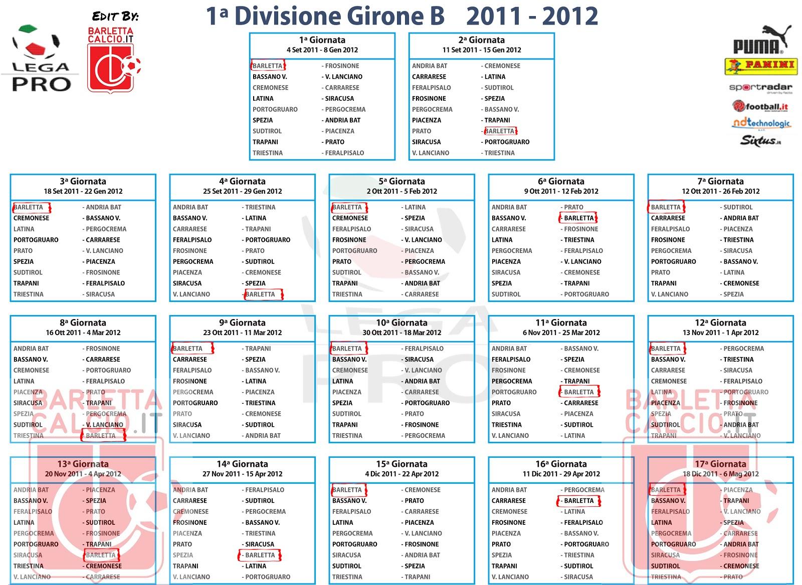 Lega Pro Calendario Girone B.Barletta Calcio It Il Blog Lega Pro 2011 2012 I