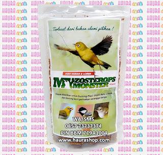 Voer My Zosterops Monster atau yang disingkat dengan Voer Zomo adalah  suplemen pakan berkualitas tinggi protein yang bisa digunakan untuk semua jenis burung Pleci, gelatik, ciblek,prenjak dan burung kecil lainnya