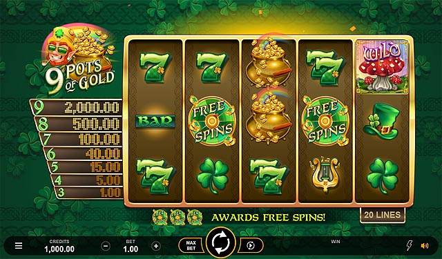 Ulasan Slot Microgaming Indonesia - 9 Pots of Gold Slot Online