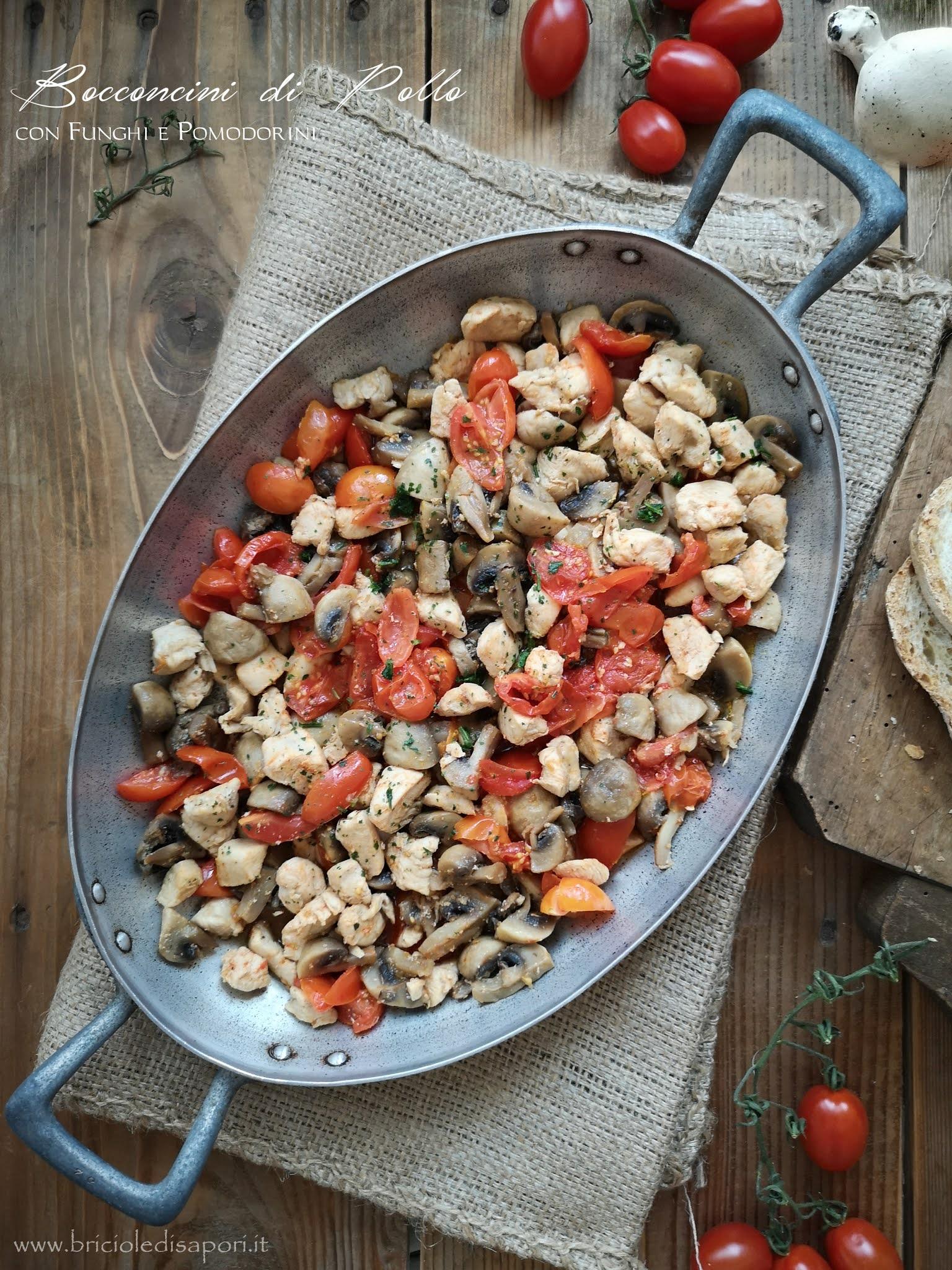 pollo con funghi e pomodorini