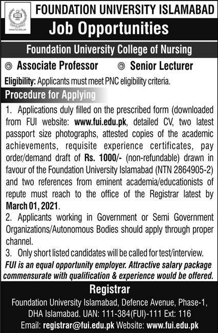 Foundation University Islamabad FUI Jobs-Jobs in Foundation University  jobspk14.com
