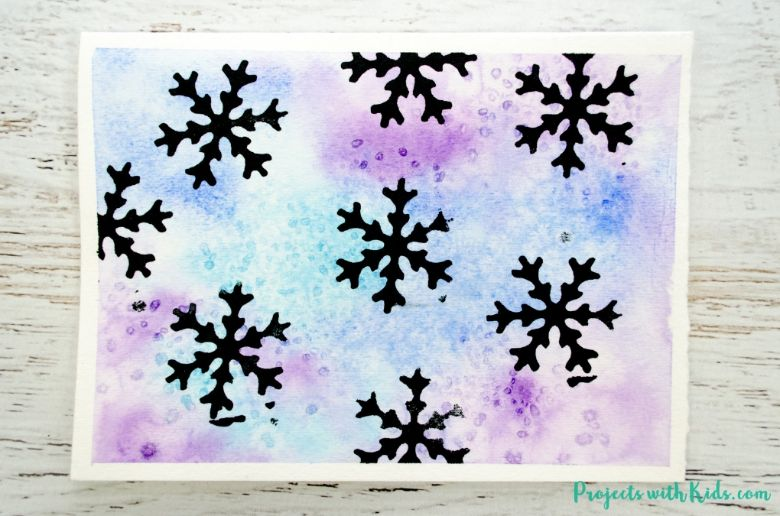 watercolor snowflake art for kids