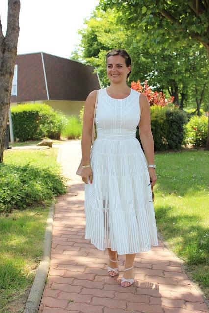 robe blanche maje, look du jour, sandales minelli, les petites bulles de ma vie