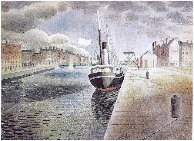 Eric Ravilious, a ship at dock