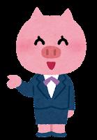 スーツを着た動物のキャラクター(ブタ・女性)