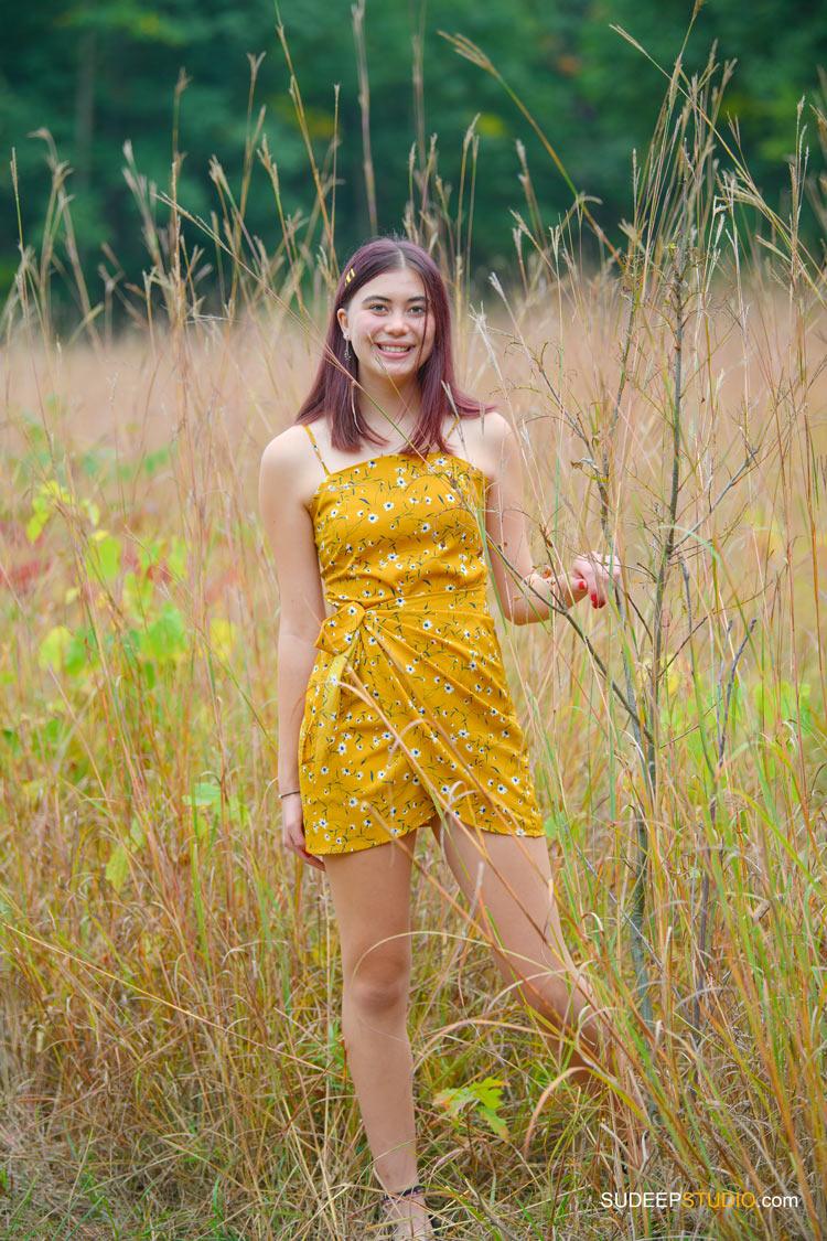 Huron High School Girls Senior Portrait in Nature Fields Meadow SudeepStudio.com Ann Arbor Senior Pictures Photographer