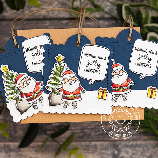 Sunny Studio Stamps: Scalloped Tag Dies Santa Claus Lane Christmas Gift Tags by Eloise Blue