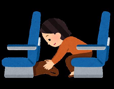手荷物を座席の下にしまう乗客のイラスト