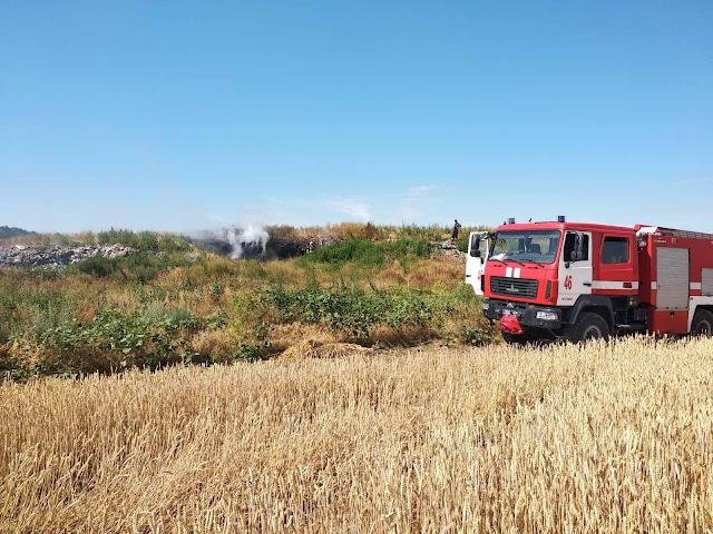 На Обухівщині запалала  велика площа сміттєзвалища