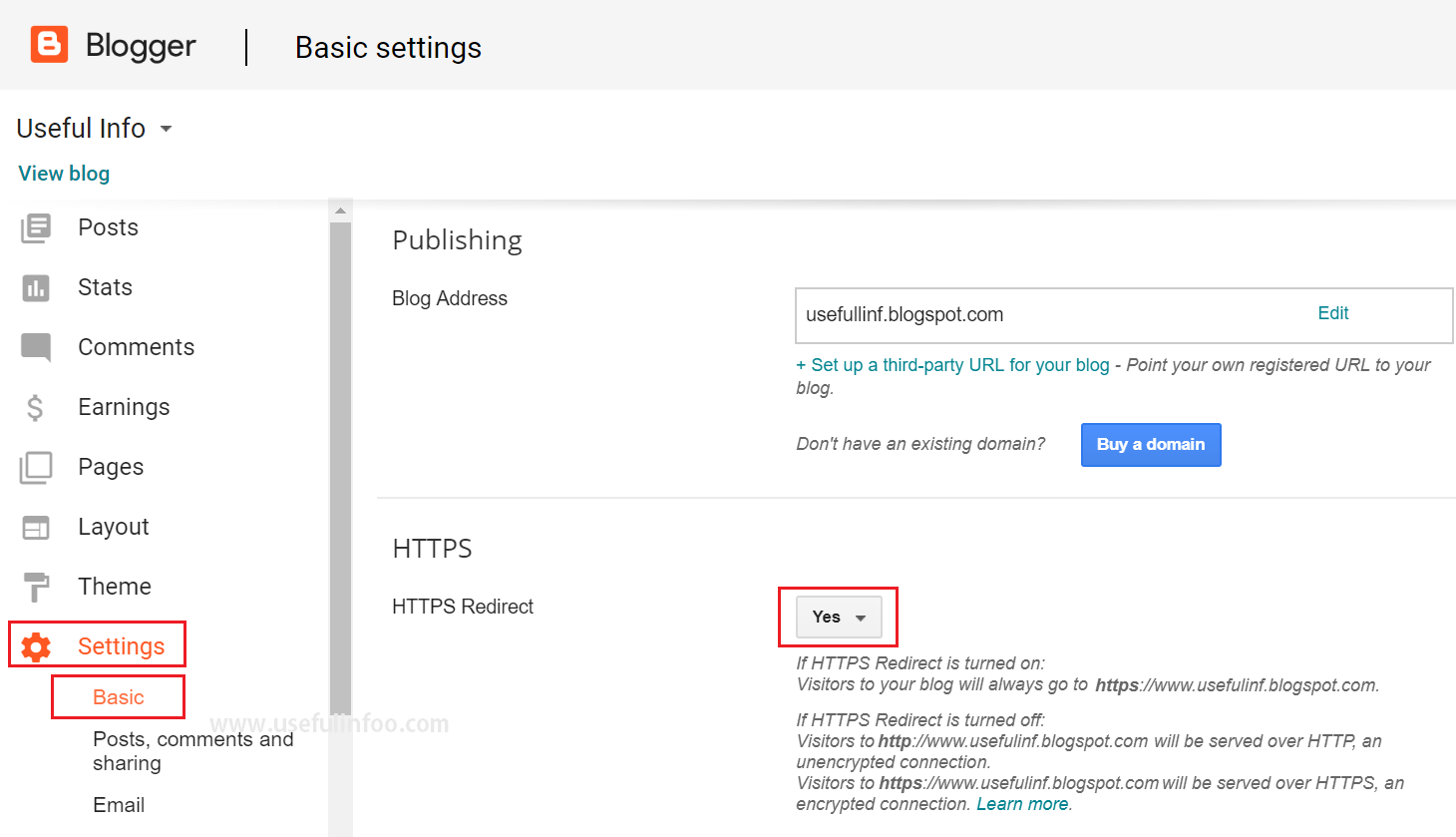 HTTPS setting for Blogspot