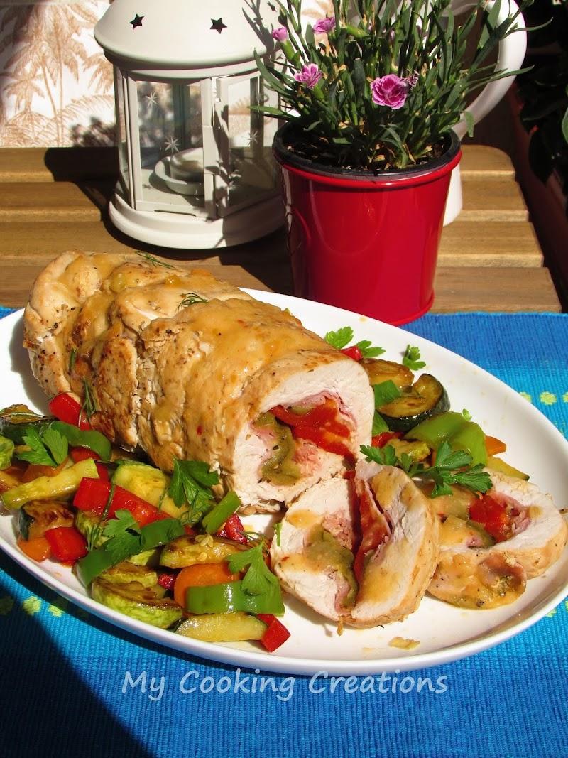 Руло от пуешко месо с печен пипер и хрупкави зеленчуци * Rotolo di tacchino con verdure