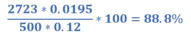 Porcentaje de soluto recuperado en el ejemplo 1