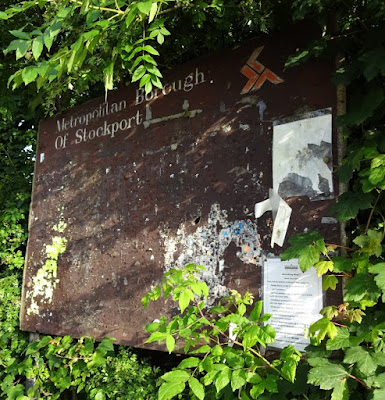 Old Metropolitan Borough of Stockport sign on Adswood Road in Cheadle Hulme. July 2016