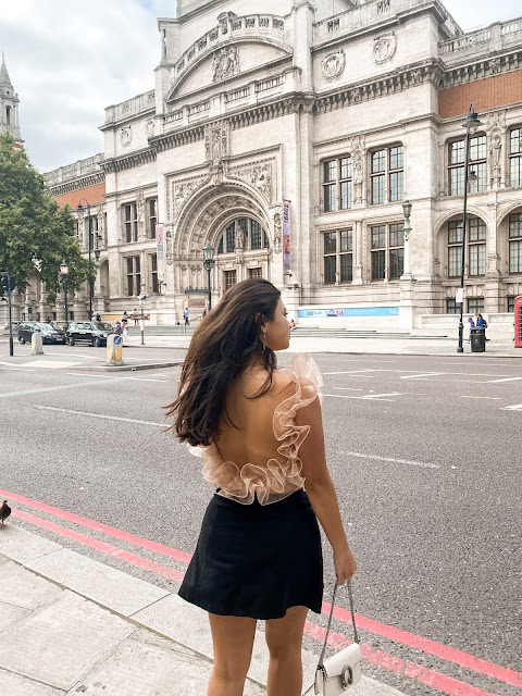 Kelly Fountain at the V&A Museum in London wearing Free People and Gucci