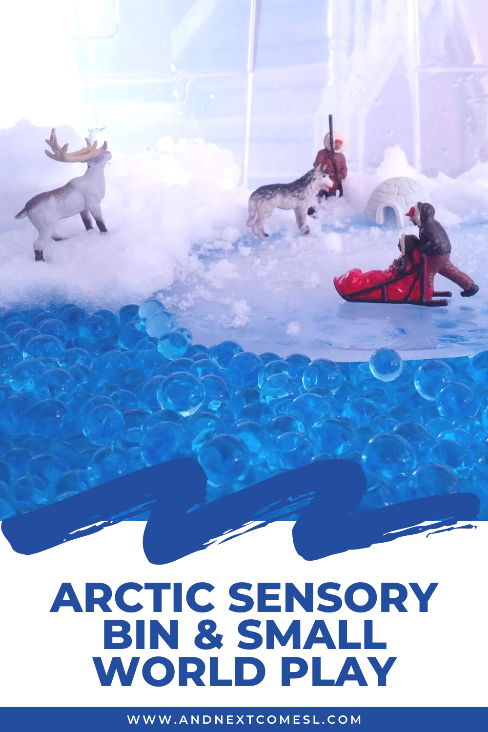Arctic sensory bin and arctic animals small world - with water beads, snow, and ice