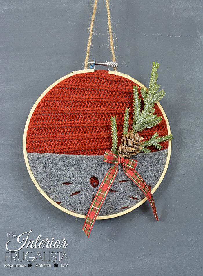 Festive Recycled Red And Grey Sweater Ornament