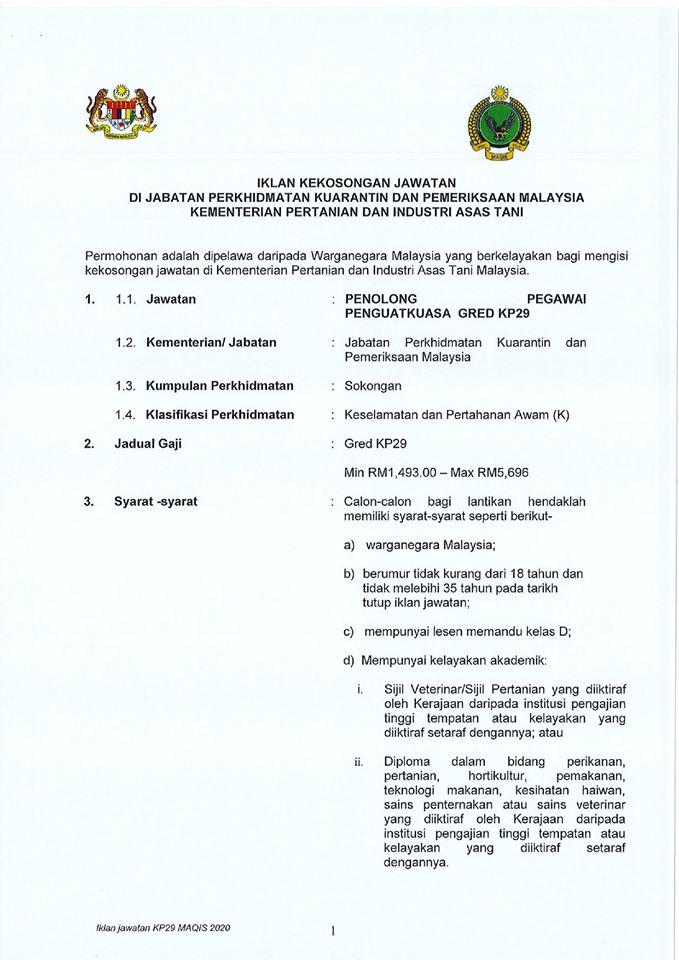 Jawatan Kosong Jabatan Perkhidmatan Kuarantin & Pemeriksaan Malaysia