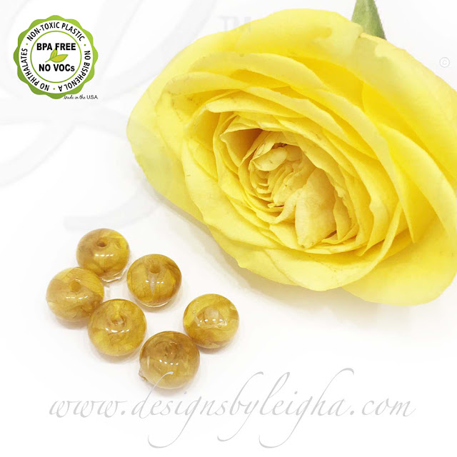 Yellow Rose Memorial Flower Beads for Bracelets and Necklaces