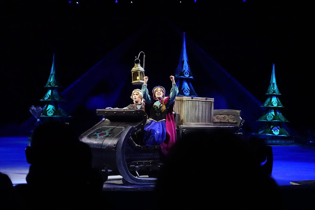 Scene from Disney on Ice presents Frozen with Anna and Kristoff on a sleigh