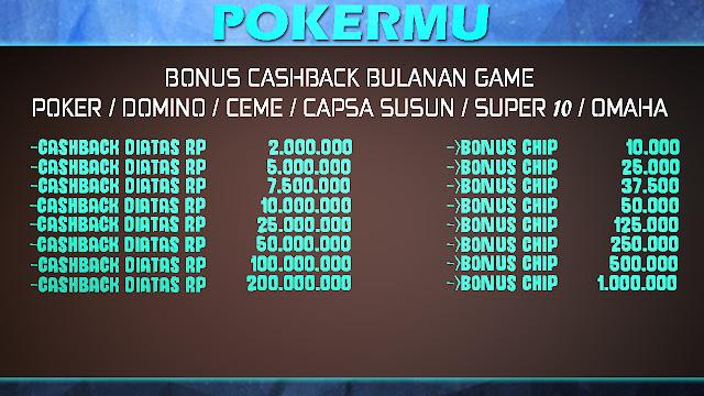 Bonus Cashback bulanan PokerMu
