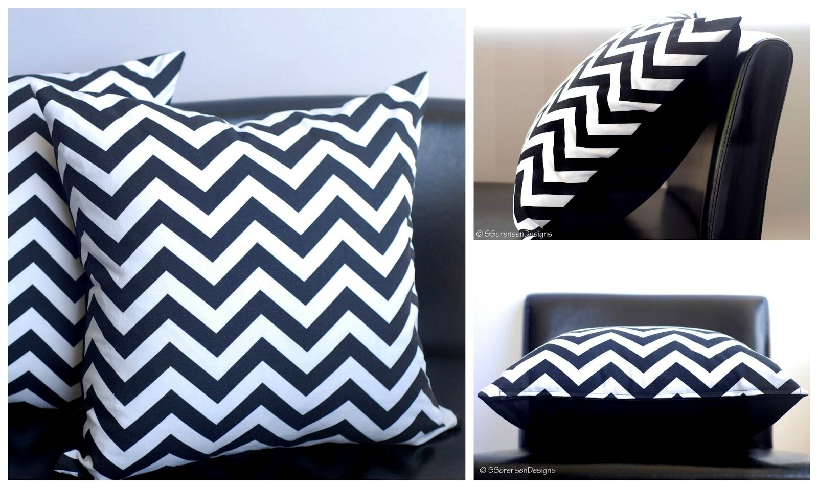 Decorative Pillows Chevron Black White