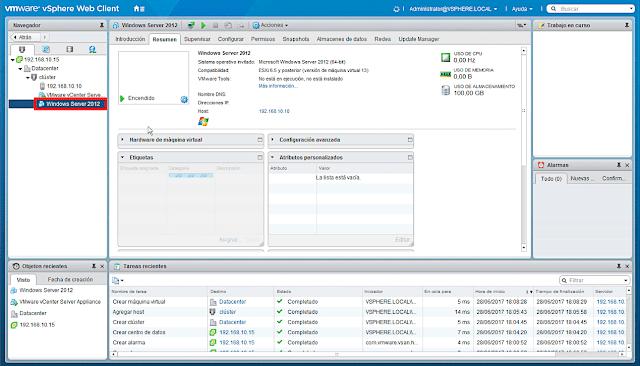 VMware 6.5.0: Crear una nueva máquina virtual - Creación VM terminada.