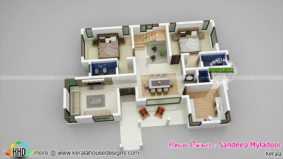 Ground floor 3D plan