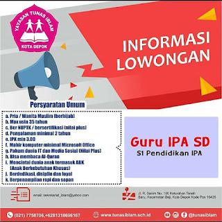 Info Lowongan Kerja Guru SD IPA Yayasan Tunas Iblam Depok