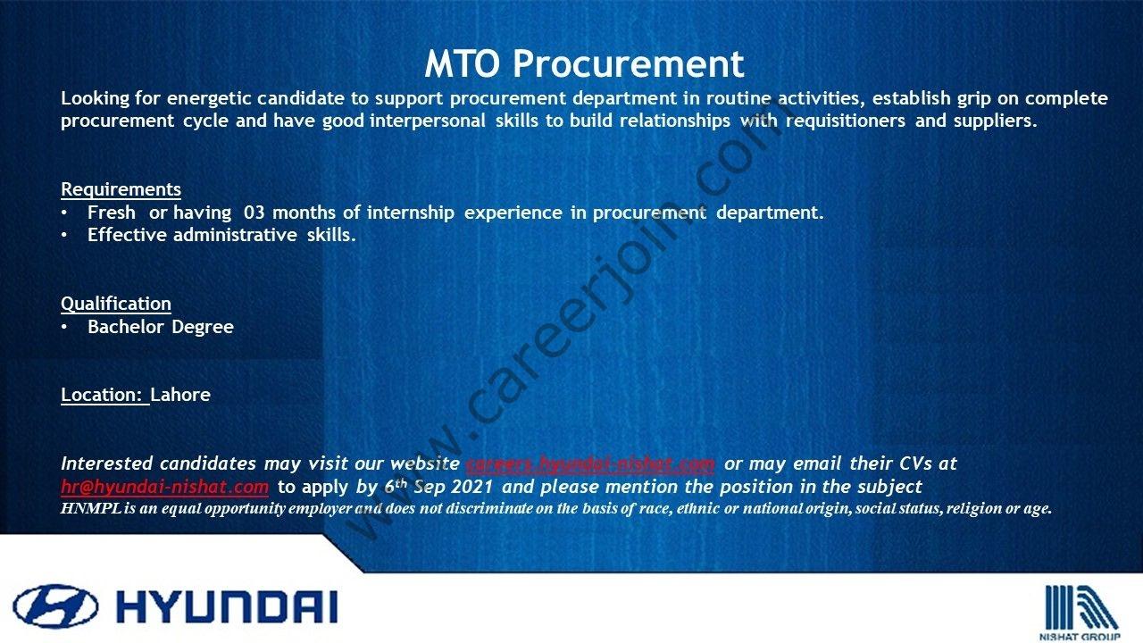 Hyundai Pakistan Jobs MTO Procurement