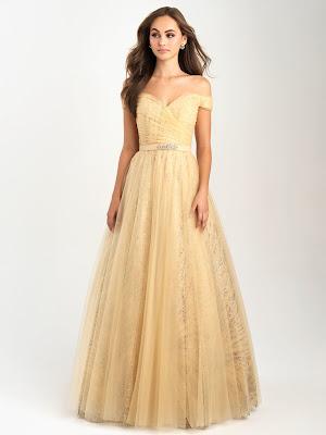 Off the shoulder Madison Jame prom dresses Gold color