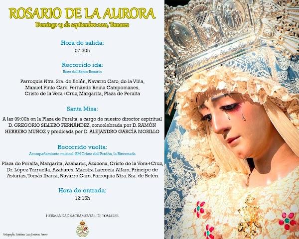 Horario e Itinerario del Rosario de la Aurora de María Santísima de los Dolores. Tomares 19 de Septiembre dle 2021