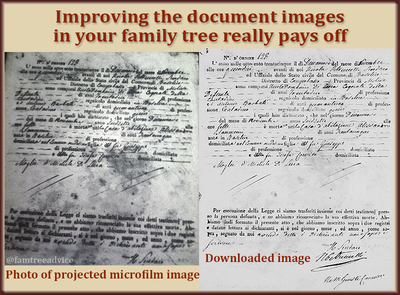 This dramatic before-and-after comparison makes it clear why I need those high-res documents from Antenati.