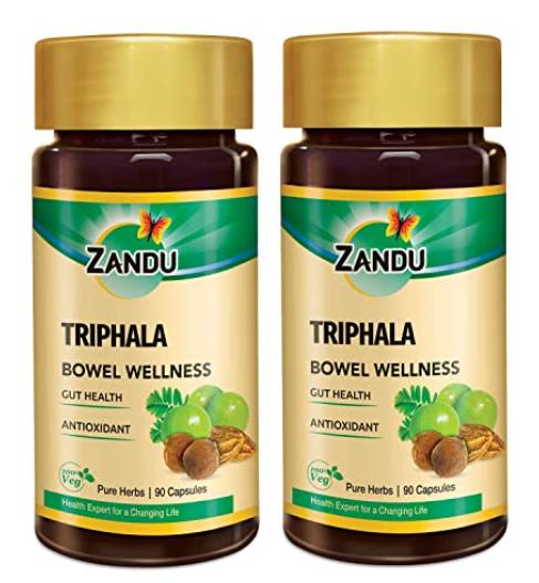 Zandu Triphala Capsules - 90 Veg Capsules (Pack of 2)