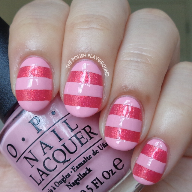 Pink Stripes Nail Art